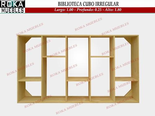 biblioteca cubo irregular pino 1.00x0.25x1.80 roka