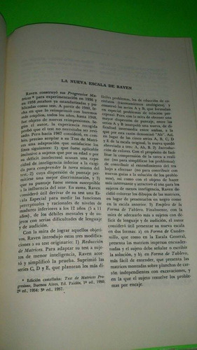 biblioteca de psicometria y psicodiagnostico. j.c raven