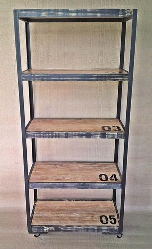 biblioteca estanteria movil estilo industrial vintage deco
