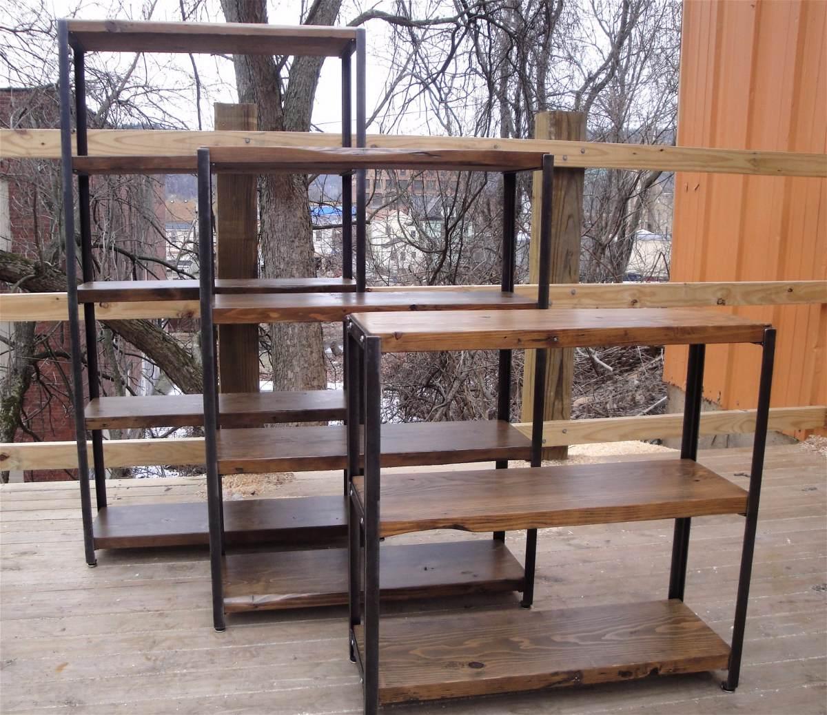 biblioteca estilo industrial hierro madera estanteria mueble cargando zoom - Muebles Estilo Industrial