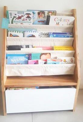 biblioteca infantil c/ cajón 4 bolsillos de tela montessori