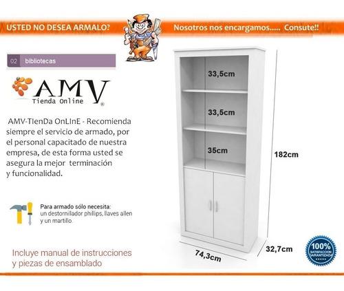 biblioteca modular 5 estantes con puertas melamina organizador + envió sin cargo capital federal