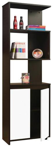 biblioteca puertas 180x60x40 wengue madera/blanco liso