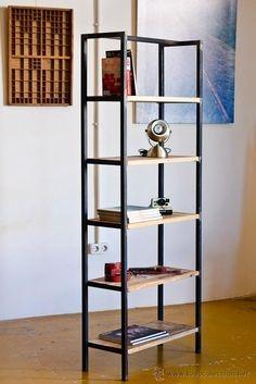 Bibliotecas rusticas en hierro y madera dividi tus for Muebles industriales madera y hierro