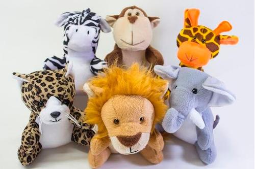 bichos de floresta safari selva leão macaco elefante 6 peças