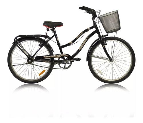 bici playera urbana dama full r24 c/ canasto parrillla m1