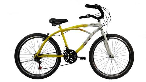 bicicleta 26 beach caiçara praiana 18v com aros aero amarela