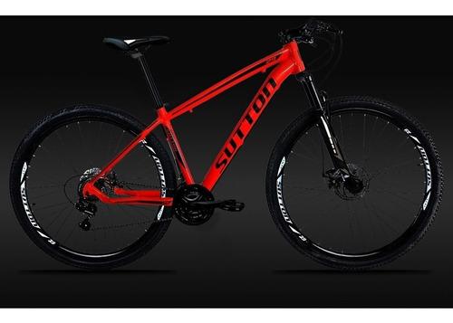 bicicleta 29 sutton câmbio shimano 21v disc hidráulico gts