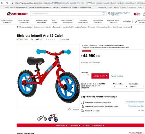 bicicleta aprendizaje caloi (nueva)