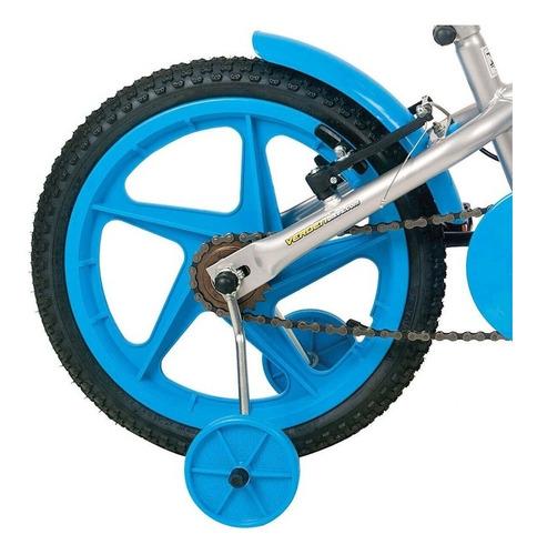 bicicleta aro 16 rock preto com acessórios azul 10436 verden