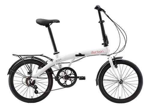 bicicleta aro 20 dobrável 6 marchas branca bike eco+ durban