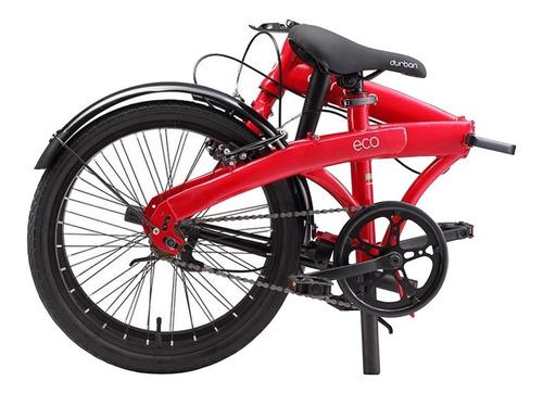 bicicleta aro 20 dobrável com 1 marcha durban eco vermelha