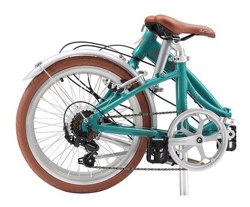 bicicleta aro 20 dobrável com 6 marchas durban rio turquesa