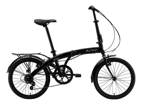 bicicleta aro 20 dobrável com 6 marchas preta eco+ durban