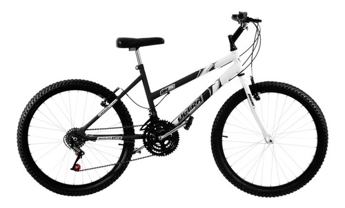 bicicleta aro 24 preta fosca/branca c/marchas pro tork ultra