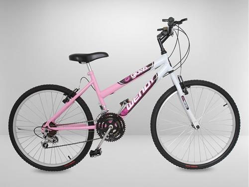 bicicleta aro 26 com 18 marchas, vermelha, azul, rosa e roxa