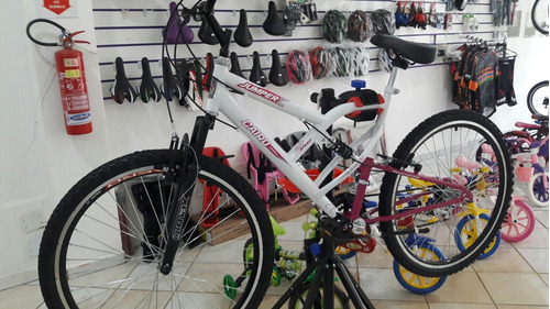 bicicleta aro 26 feminina  full jumper  rosa/branca