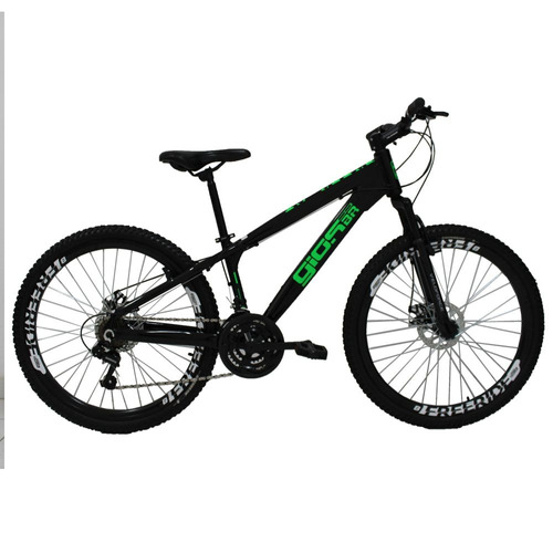 bicicleta aro 26 gios frx freeride 21v preto/verde
