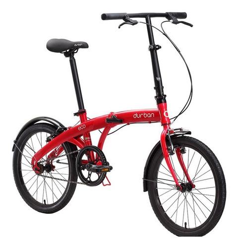 bicicleta bike dobrável aro 20 durban eco vermelha 1 marcha