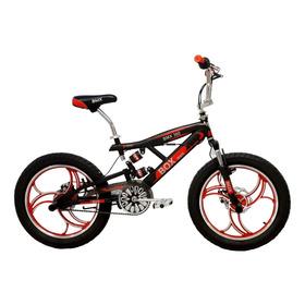 Bicicleta Bmx 2021 Con Suspensiones Aro 20 - Negro Con Rojo