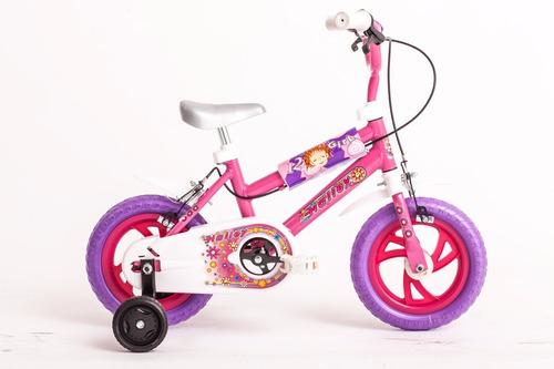 bicicleta bmx halley rodado 12 para nena 19020 con rueditas