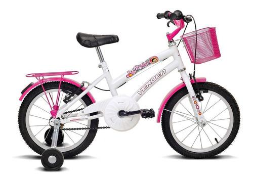 bicicleta breeze - aro 16 - branco e pink - verden bikes