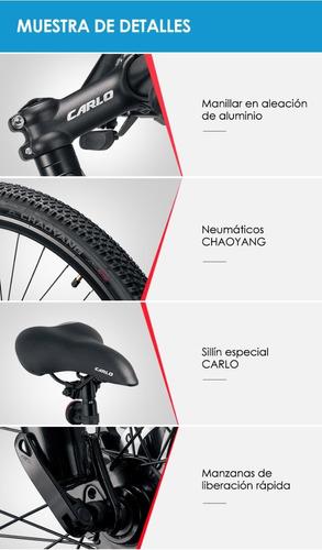 bicicleta carlo c338 rin 26 shimano 21vel marco aluminio