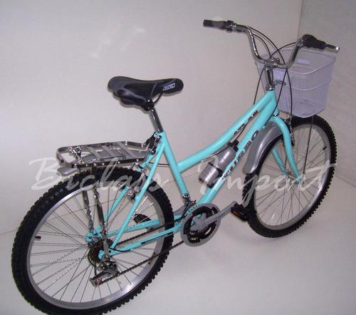 bicicleta dama  canasta parrilla aro aluminio 18 cambios