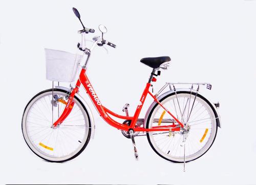 bicicleta dama paseo verado rodado 24 canasto luz parrilla