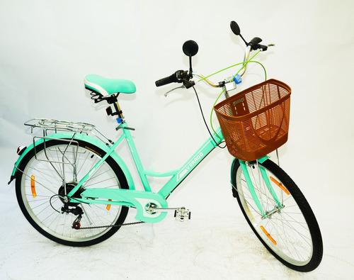 bicicleta dama rodado 26 canasto luz  shimano parrilla