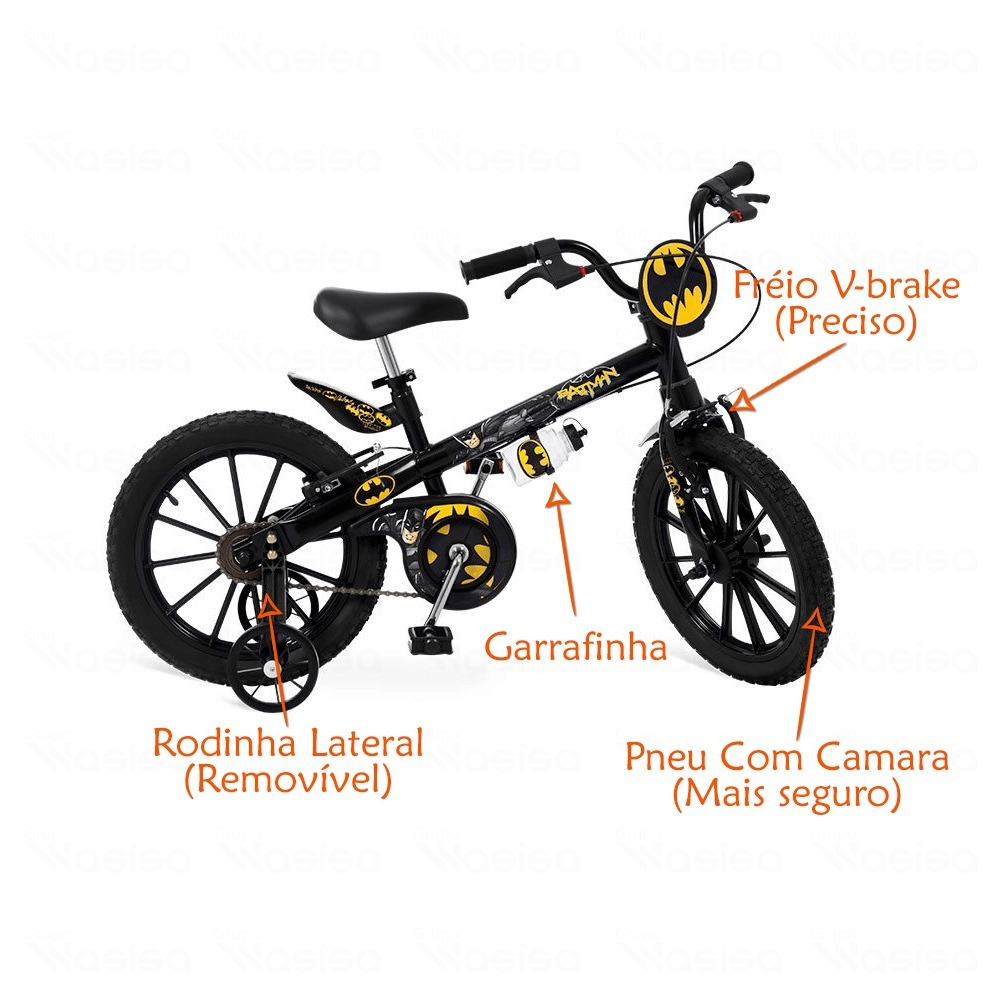 788778568 bicicleta do batman infantil aro 16 + garrafinha bandeirante. Carregando  zoom.