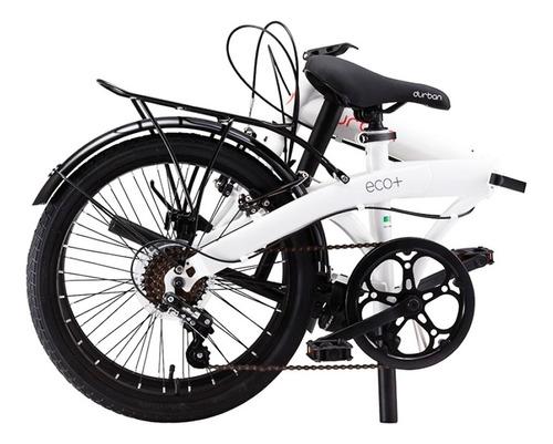 bicicleta dobrável aro 20 com 6 marchas branca durban eco+