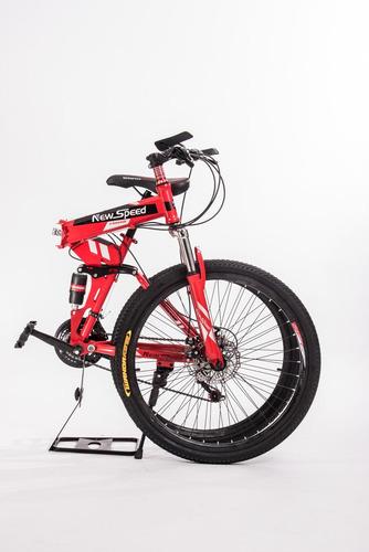bicicleta dobrável speed red aro 26  21 marchas freio disco