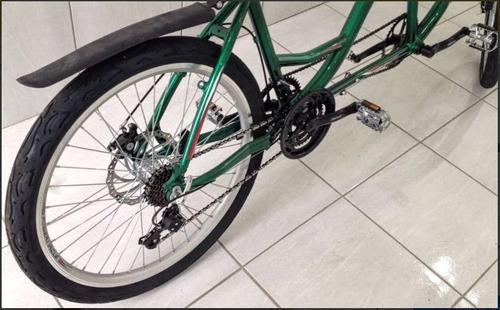 bicicleta dupla de alumínio aro 26 c/ câmbio 21 velocidades