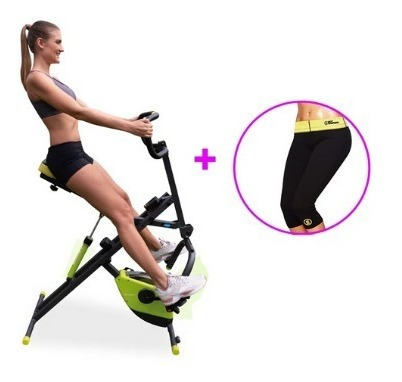 bicicleta estática body crunch + pantaloneta hot shaper