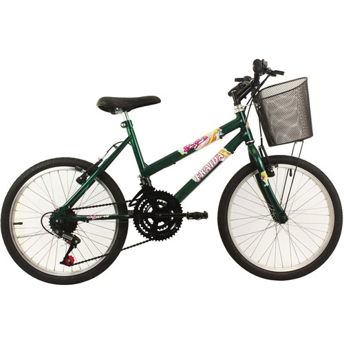 bicicleta feminina aro 20 mountain bike c/ cesta - verde