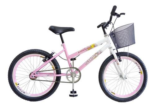 bicicleta feminina samy aro 20 c/ aros aero com cesta