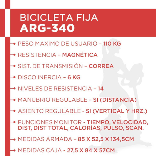bicicleta fija magnética randers arg-340 asiento regulable