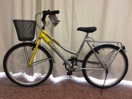 bicicleta futura dama rodado 26 paseo con canasto