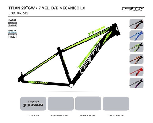 bicicleta gw titan rin 29 shimano 7 vel. integradas suspen