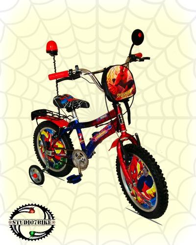 bicicleta hombre araña para niño aro 16 y 20 - nuevas