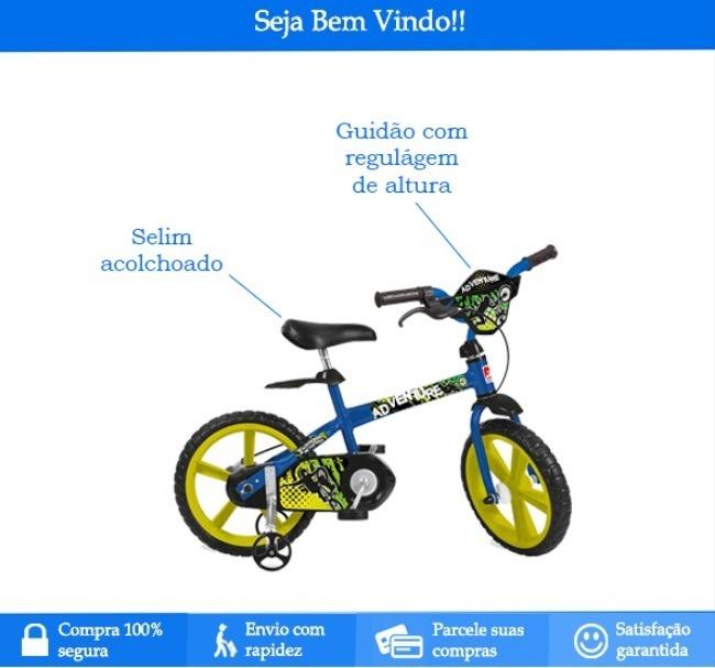 912fe25bd Bicicleta Infantil Adventure Aro14   Bandeirante - R  406