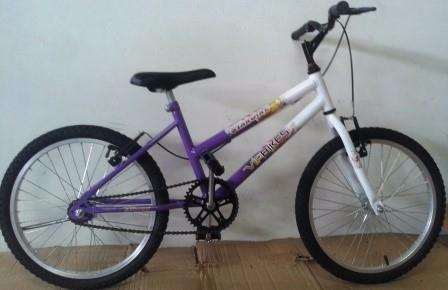 bicicleta infantil aro 20 mtb star girl lilas/branco