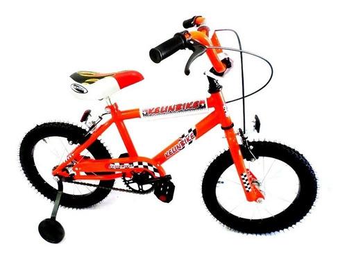 bicicleta infantil cross c/frenos kelinbike r.16 naranja