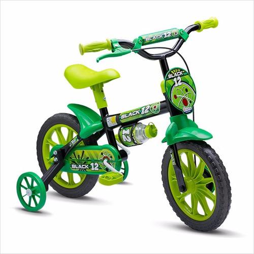 bicicleta infantil masculina nathor aro 12 black 12 - preto