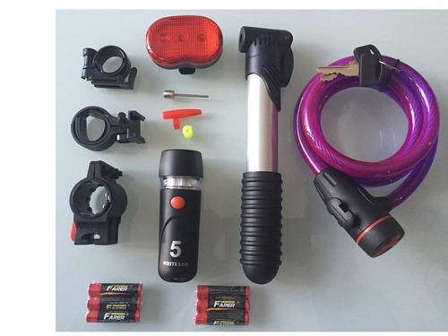 bicicleta kit 4en1 candado seguridad bomba luces led batería