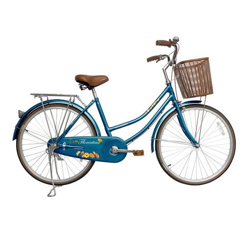 bicicleta lahsen city bike florentina aro 24 azul retro lady