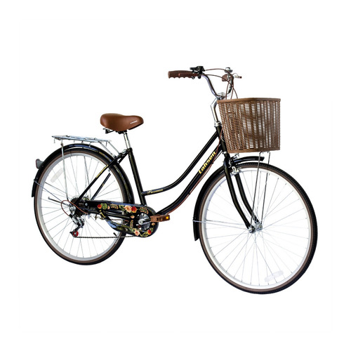 bicicleta lahsen city bike provenza aro 26 negro retro lady