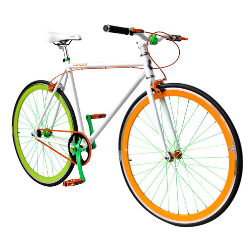 bicicleta lahsen fixed bike aro 28  dynamic color blanco