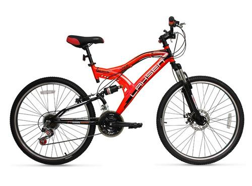 bicicleta lahsen mtb 26 impact doble suspensión color rojo